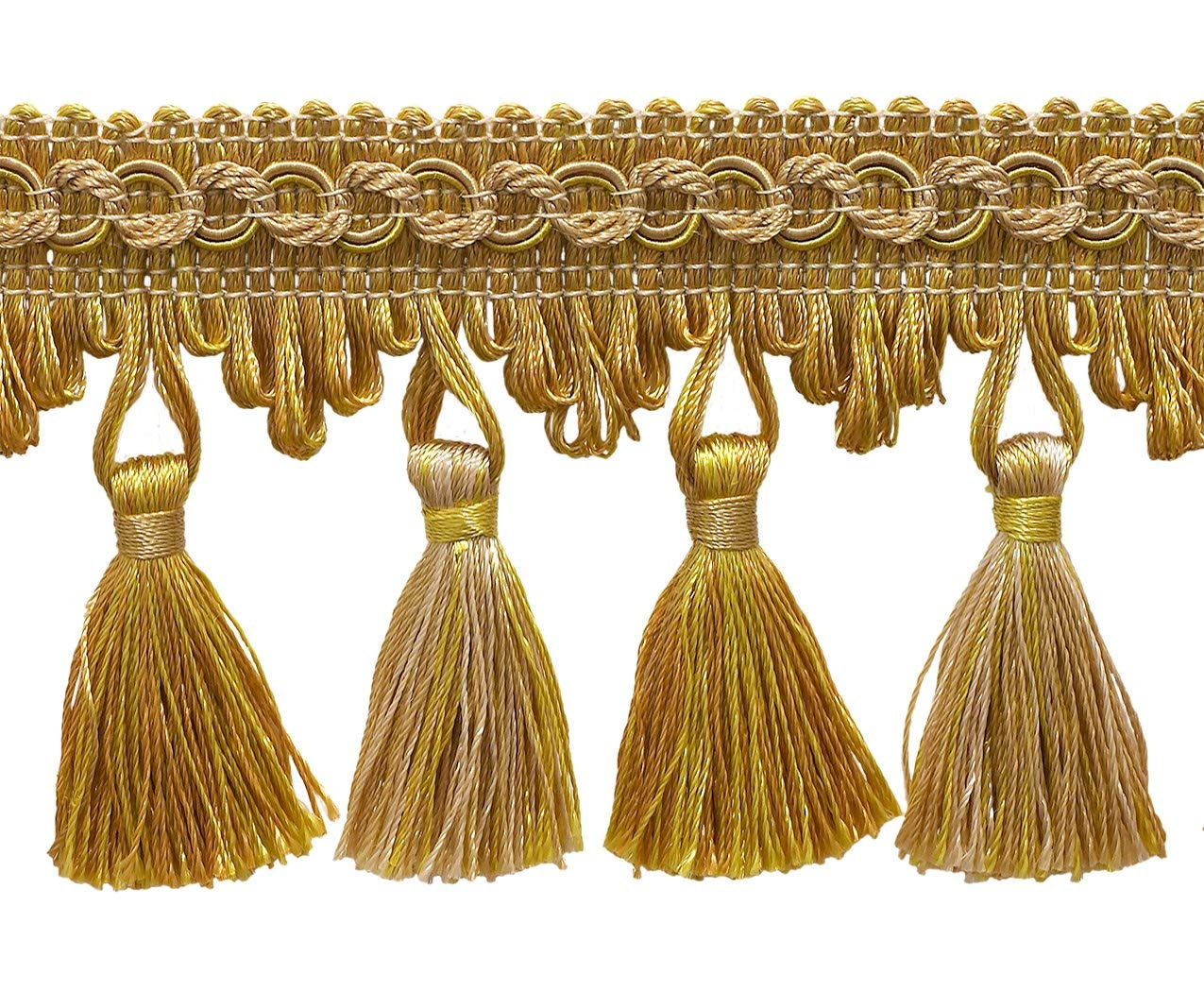 """Antique gold 2 3/4"""" Imperial IITassel Fringe Style# NT2502 Color: RUSTIC GOLD - 4975 (Sold by The Yard)"""