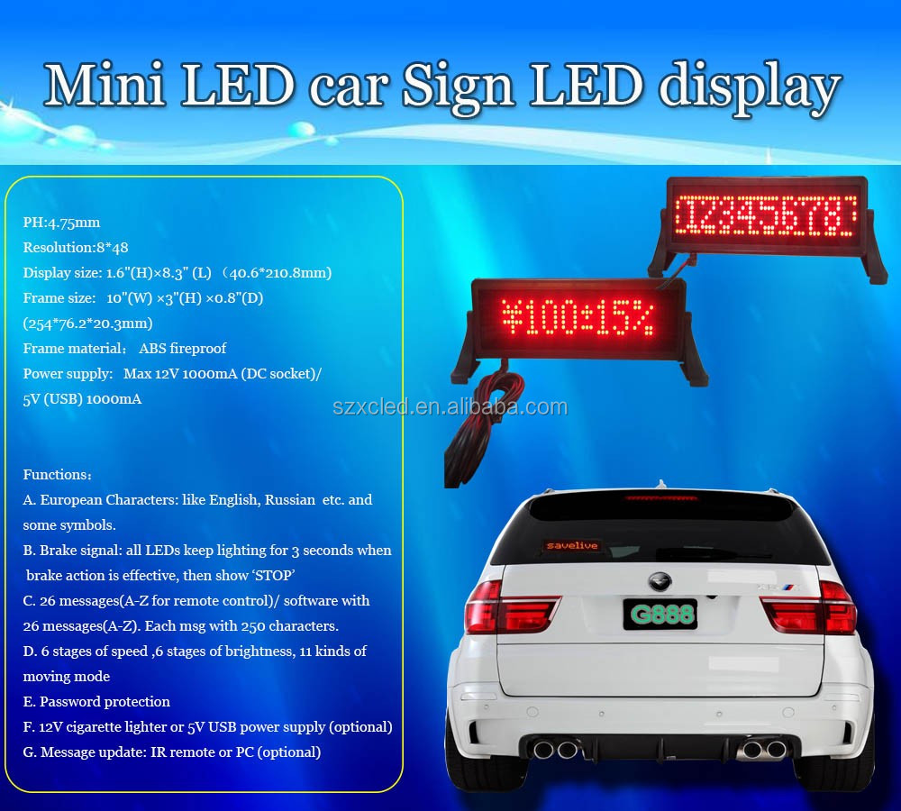 brightness adjustable 6 level LED Mini car sign series IR remote controller USB computer optional 848 display board