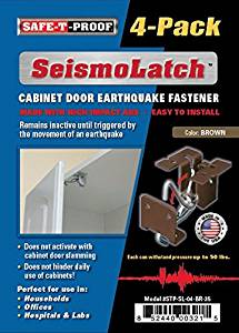 SeismoLatch Automatic Earthquake Activated Cabinet Latch, Brown, 4-Pack