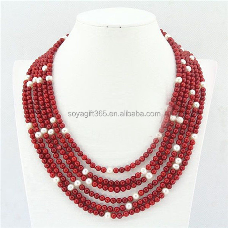 African Wedding Crystal Jewelry 6Rows Coral Beads Bridal Necklace