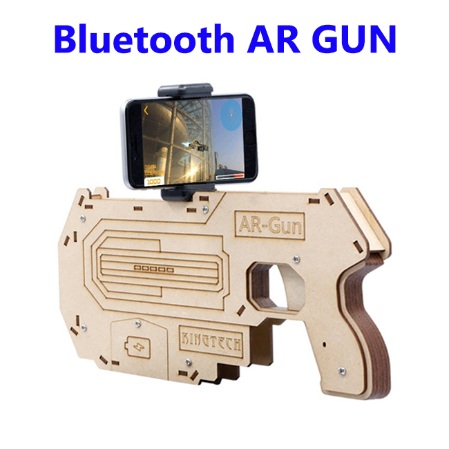 DIY Portable Bluetooth AR Gun 3D VR Games Wooden Toy for Smartphones
