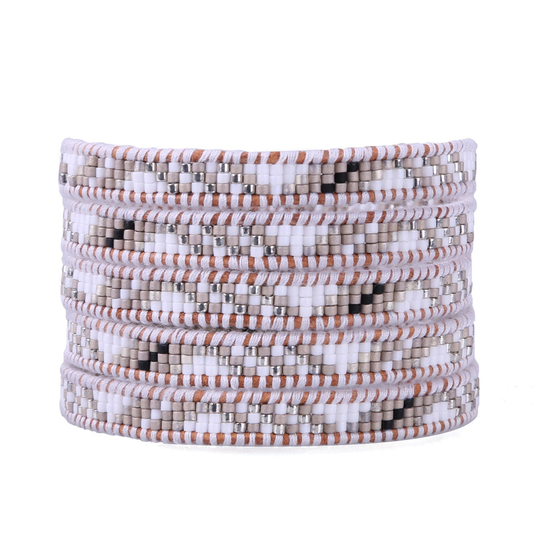 KELITCH Shell Seed Bead on Natural Leather 5 Wrap Bracelets Handmade New Bangles