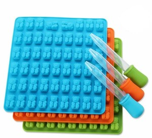 Gumdrop Jelly Molds Silicone Gummy Bear Candy Molds with Dropper