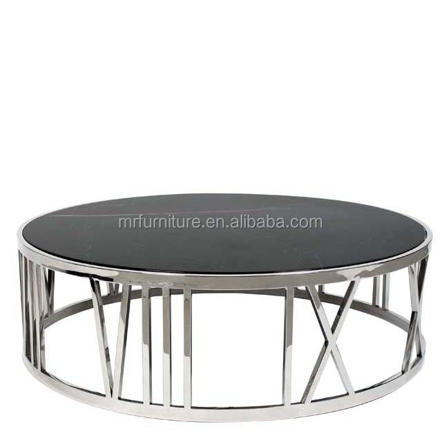 Black Gl Stainless Steel Round Coffee Table Mirrored Modern Product