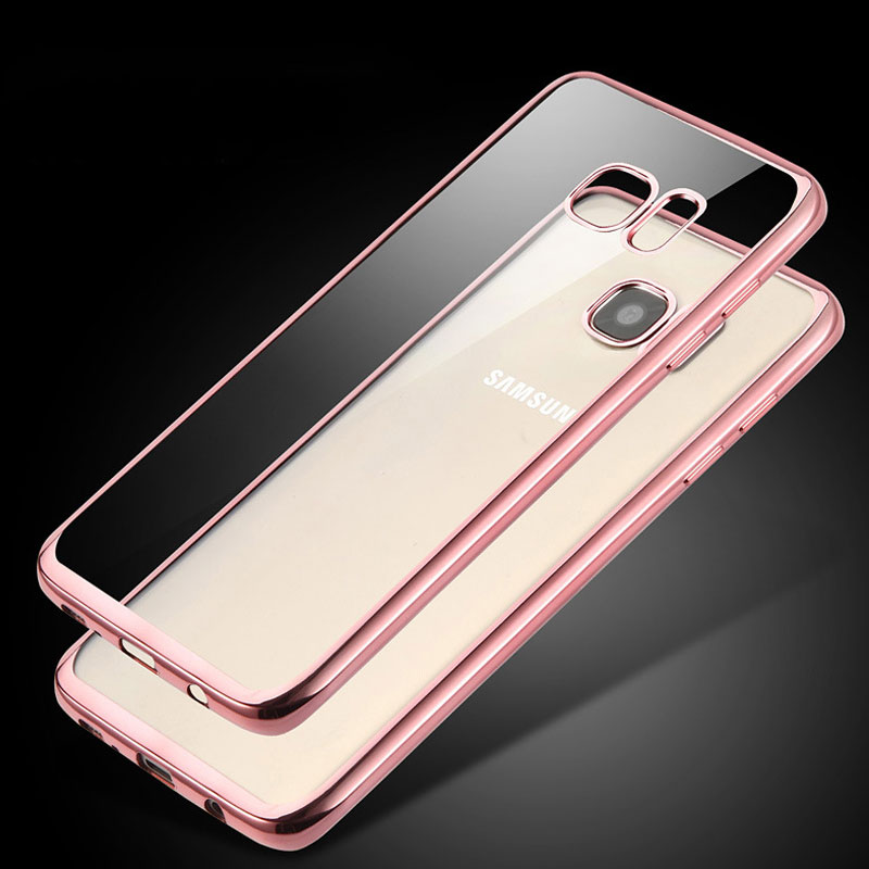 Colorful Electroplate Frame Full Clear Shell Soft TPU Back Cover Thin Light Protector for Samsung Galaxy S7 S8 Plus Note 8 Case