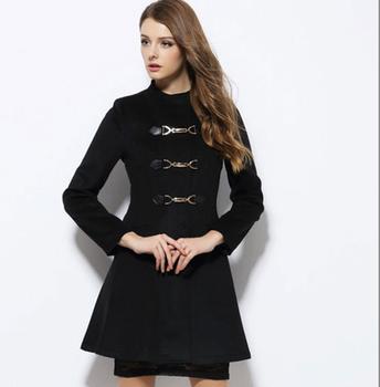 W70829g Elegant Plus Size Woolen Black Winter Women Coat Model ...