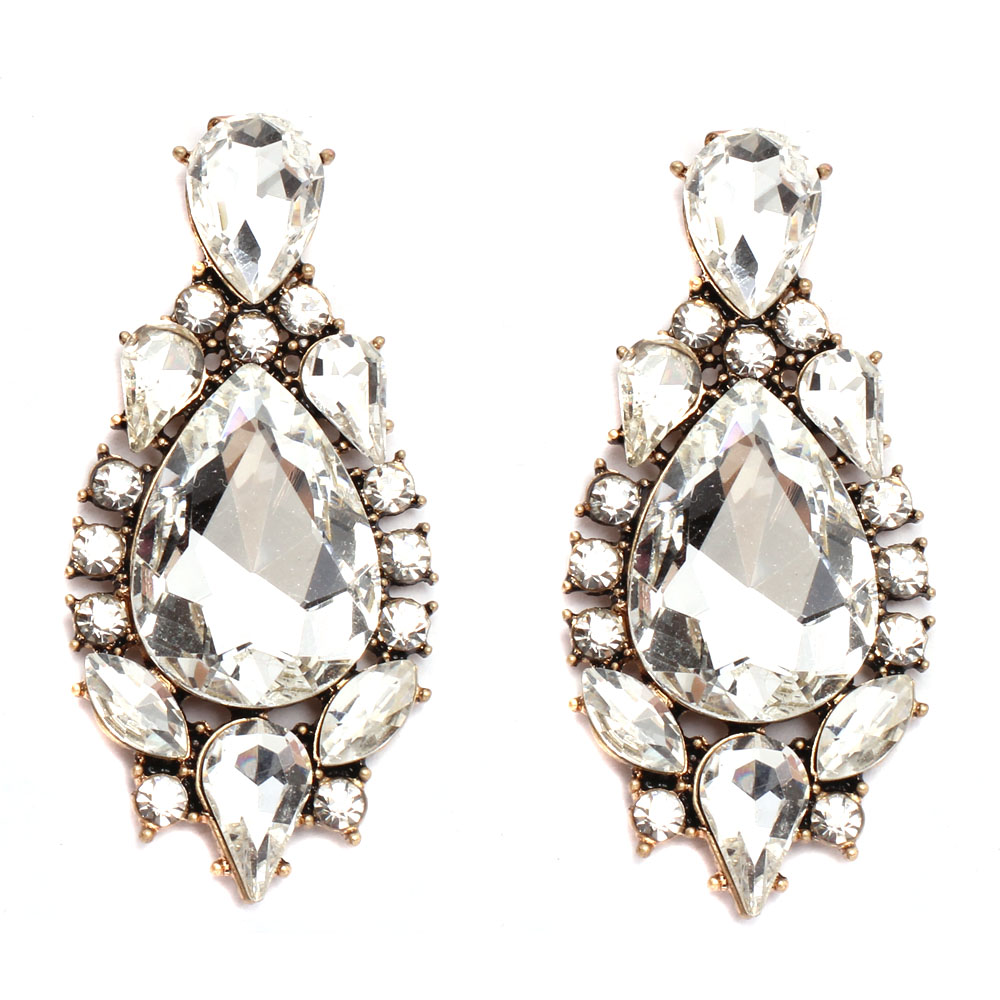 New Free shipping Trendy fashion full crystal earring vintage statement high quality stud Earrings for women JA023