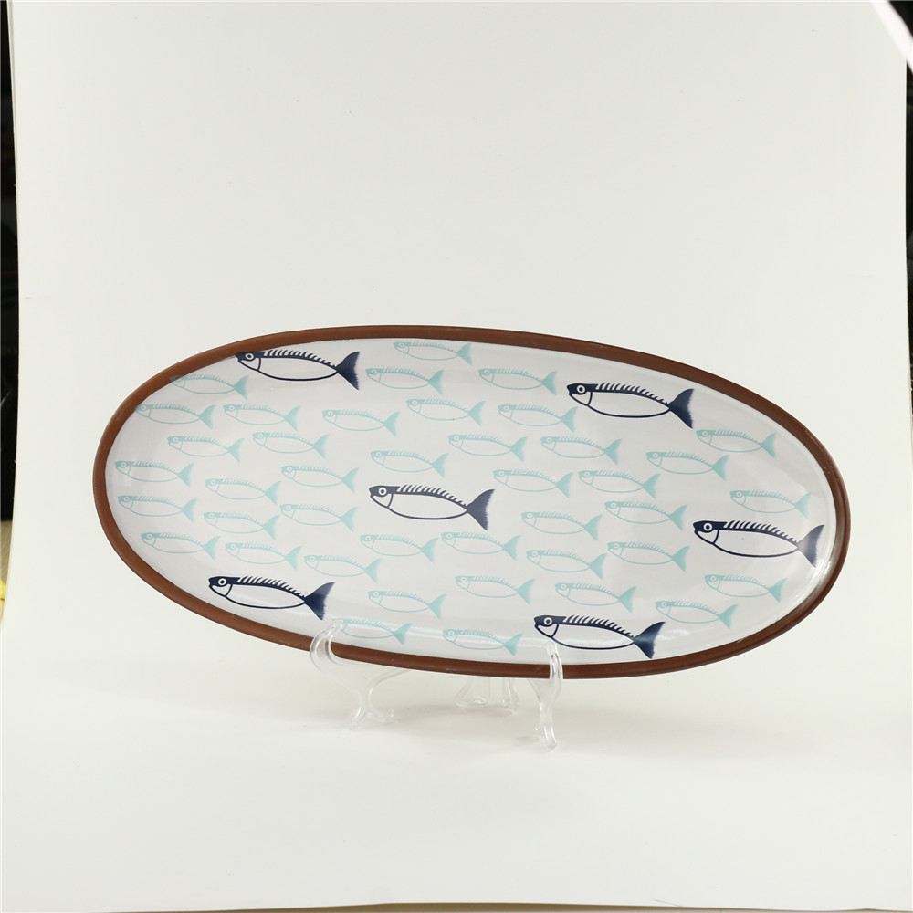 New Style Wholesale Oval Creative Modern Ceramic Fish Plates