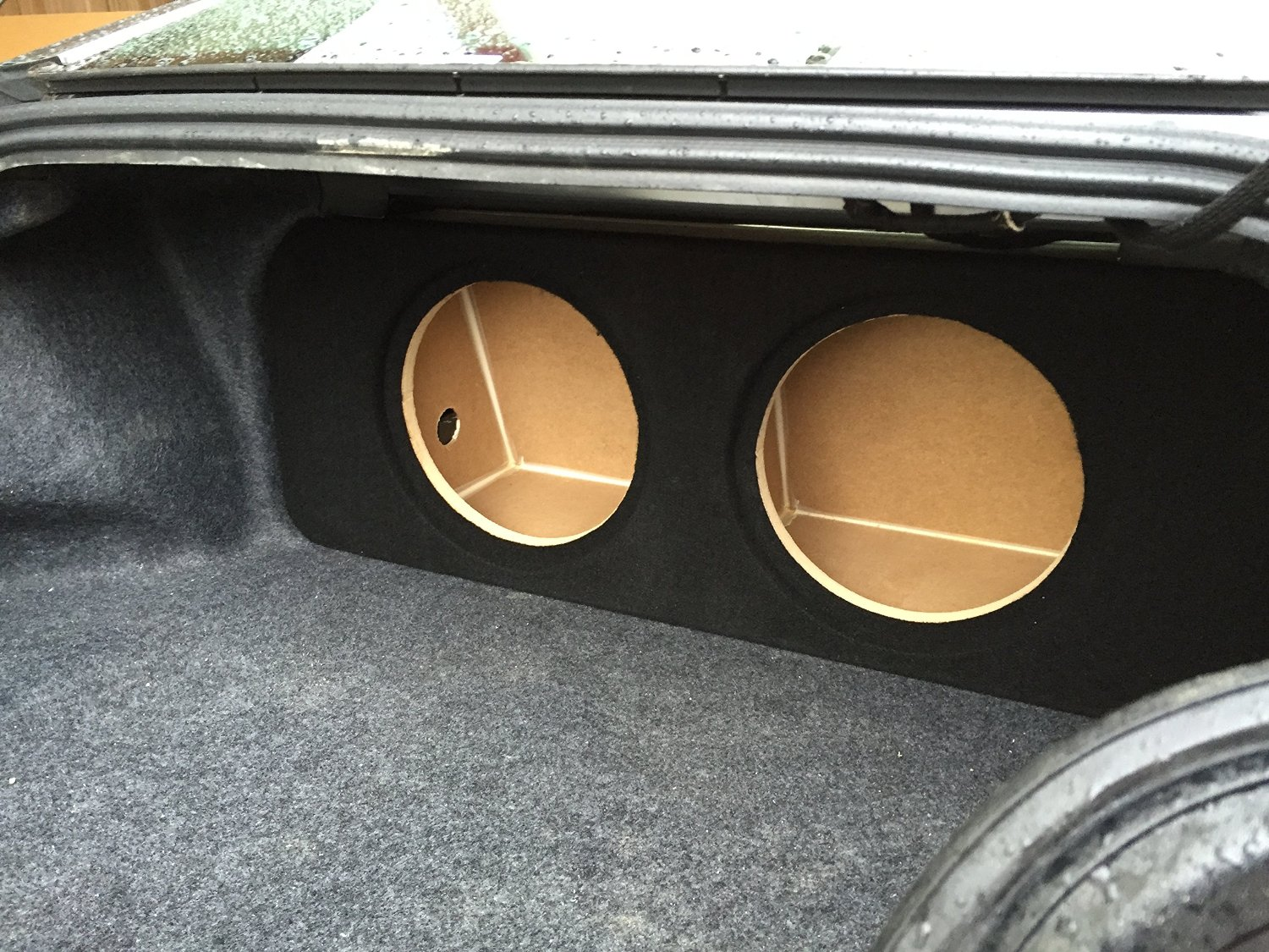 Zenclosures 2019 Mustang 2-12 Subwoofer Box W//recessed Mounting Holes Charcoal Version 2 Front FIRE