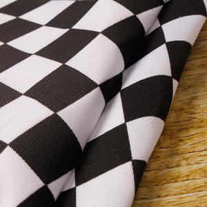cotton twill black and white check printed fabric for apron