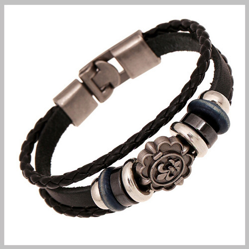 2015 Leisure Vigorous Stainless Steel Leather Bracelect For Cool Girls