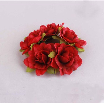 Indian Wedding Hair Accessories Floral Hair Band Bun Red Rose Flower