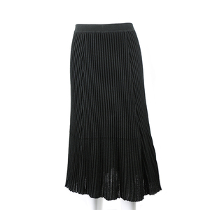 Causal midi skirt knitted black pleated skirt for lady