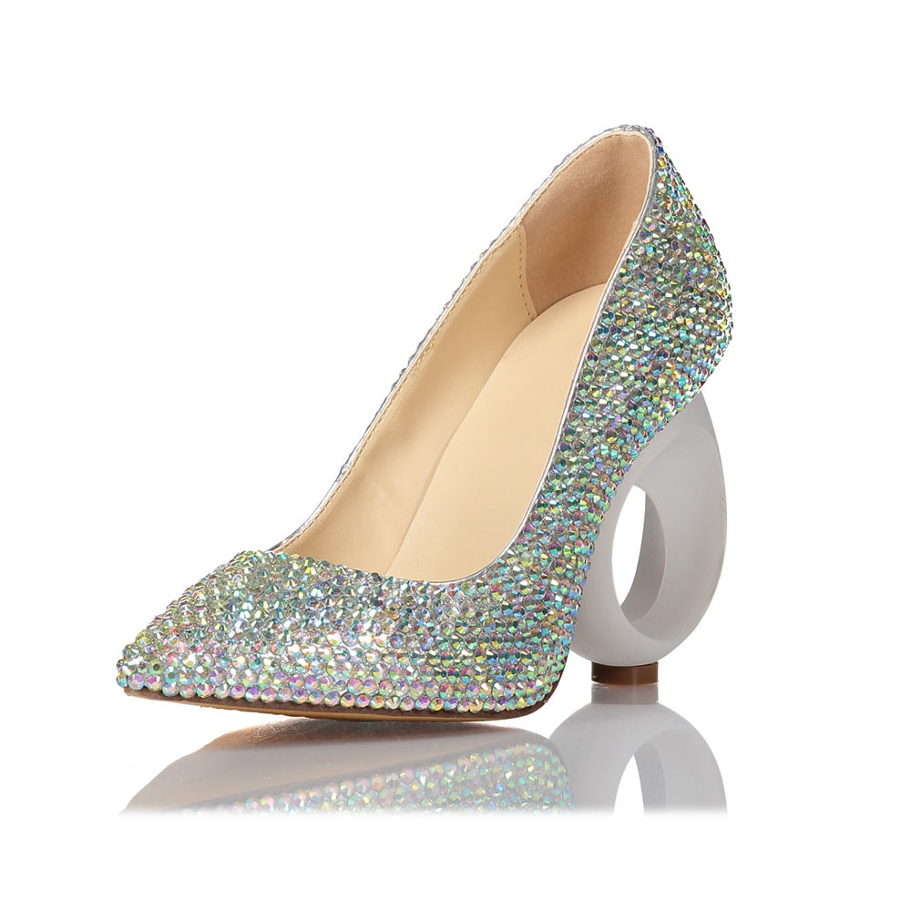 Pointed High Heel Rhinestone Women Shoes High Elegant Shoes Pumps Heeled Wedding Hollow Heel Stiletto Thin Crystal YvwPFqY