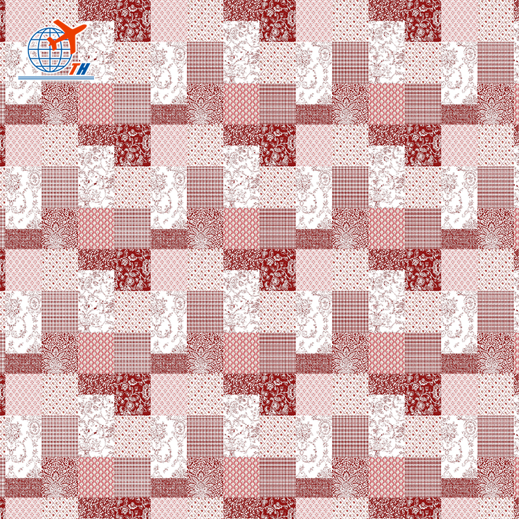 100% Polyester peach skin print plaid fabric material wholesale fabric China
