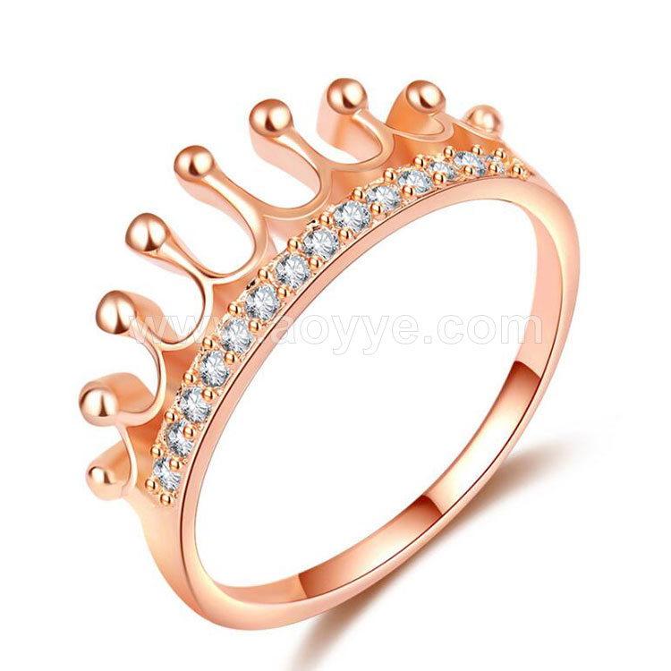 Classic unique princess crown charming diamond fashion design rose gold rings