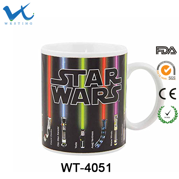 Star Ceramic Color Changing Coffee Mug Wars Heat Sensitive Magic Cup