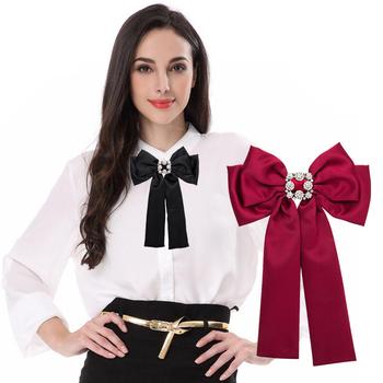 cae1fce8ba3 Women Rhinestone Bow Brooches For Women Shirt Dress Broches Jewelry Vintage  Collar Corsage Silk Bowknot Tie