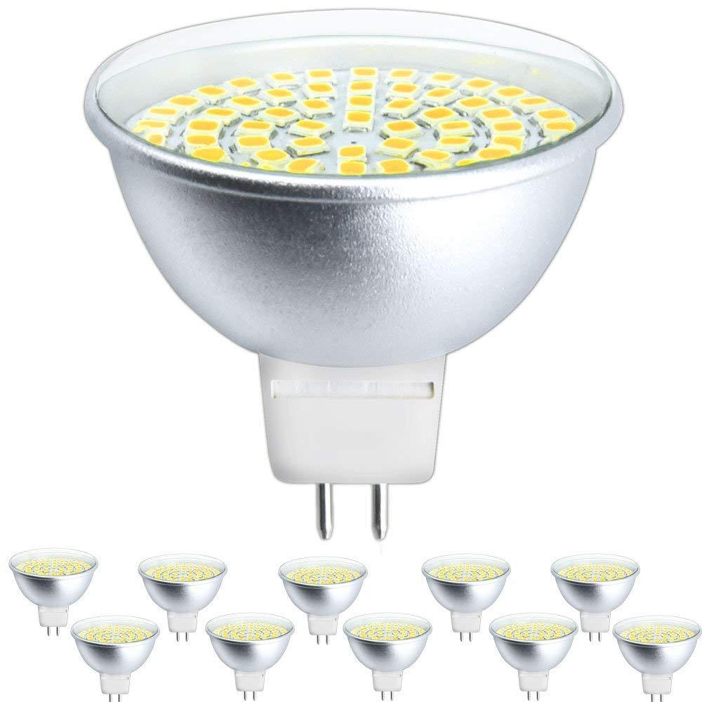 Klarlight LED GU5.3 Bulbs 5 Watt AC/DC 12V MR16 LED Bulb, 50W GU5.3 Halogen Equivalent, LED GU5.3 Warm White GX5.3 Bi-Pin Base 24V GU5.3 MR16 LED Bulbs for Landscape Recessed Track Lighting-PACK OF 10