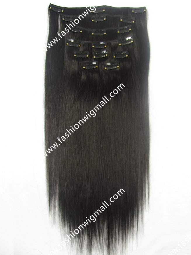 "9pcs/set 17 clips 18""20""22""24"" Full Head Set #1b Black Clip On Hair Straight 100% Real Natural Hair Clip In Extensions"