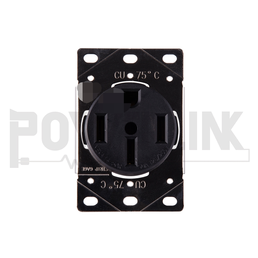 50 Amp Receptacle >> H10092 50 Amp 125 250v Flush Mounting Receptacle Straight Blade Industrial Grade Grounding Side Wired Steel Strap Black Buy Rv Receptacle 50 Amp Rv