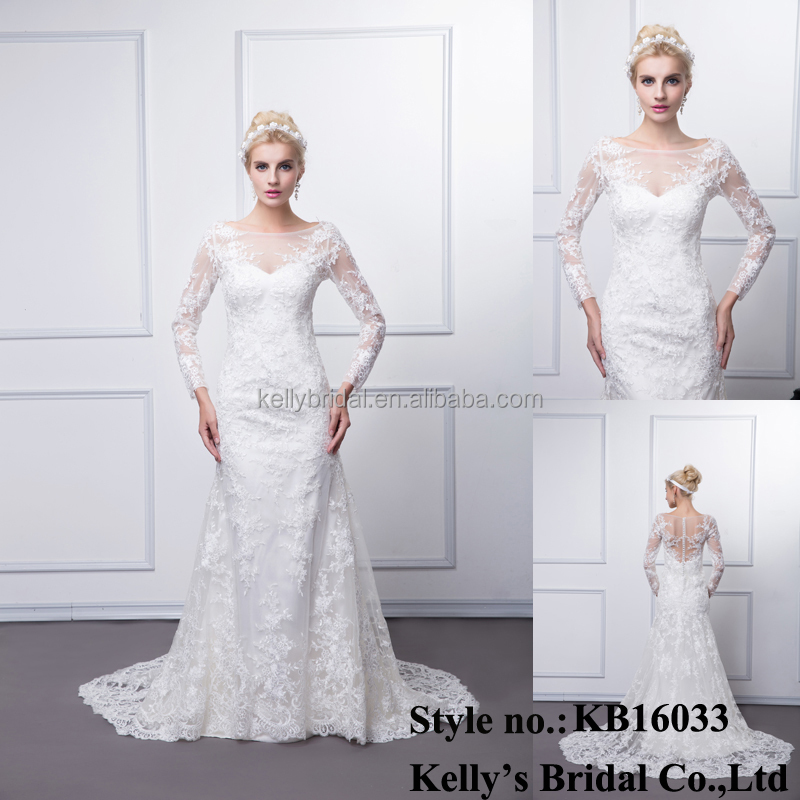 30bd397f53e7 China factory bridal gown made long sleeve appliqued lace ladies real wedding  dress xxxl size