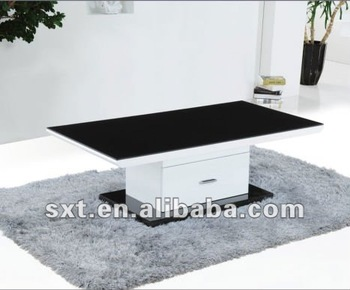 Modern Design White High Gloss Wooden Center Table With Glass Top