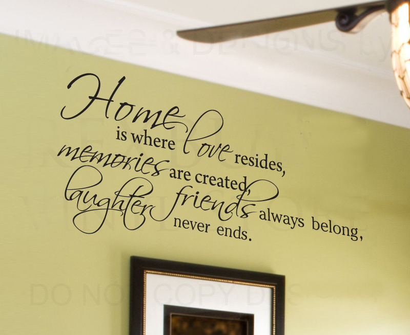 Home Is Where Love Resides Family Wall Sticker Art Quote
