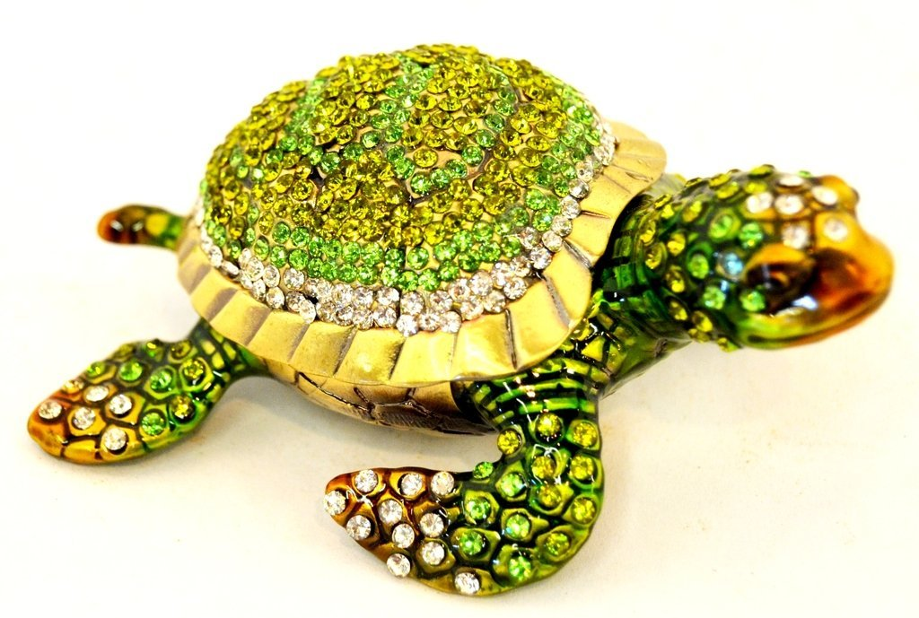 Sea Turtle Trinket Box, Hand Set Green & Clear Swarovski Crystal, Hand Painted Green Enamel Over Pewter, L 3.00 x H 1.25 x W 2.25