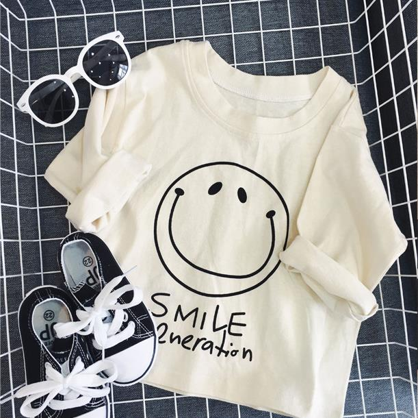 Children Pure Color Smile Face Design Clothing 2017 Cotton O- Neck Long Sleeves Children's Clothing