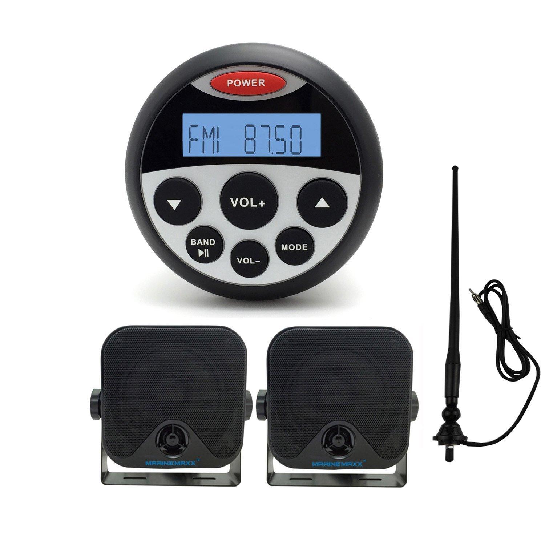 "MarineMaxx Marine Digital Media Receiver Gauge Style Marine Stereo Bluetooth MP3/USB Player FM AM AUX Input , 1 pair 4"" Marine Speaker Heavy Duty Speakers with Marine Waterproof Radio Antenna Black"