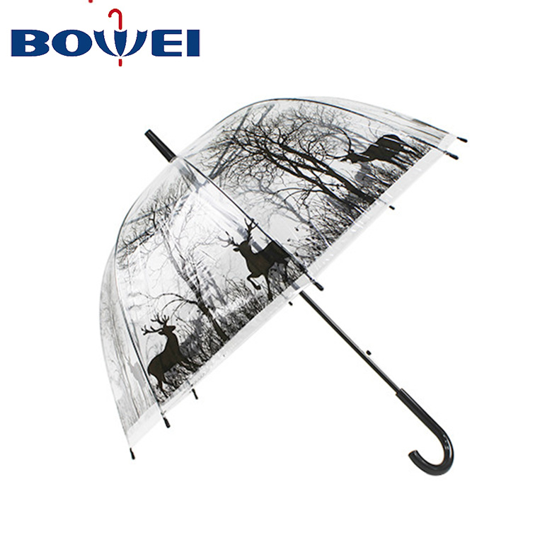 Manufacturer Auto Open Transparent Umbrella with Dome Shape