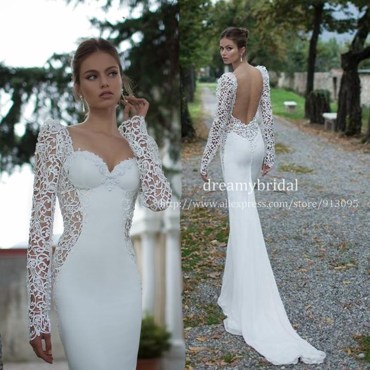 Sheer Lace Long Sleeve Satin Mermaid Wedding Dresses: Vestidos De Noiva 2014 Sexy Open Back Long Sleeves Sheer