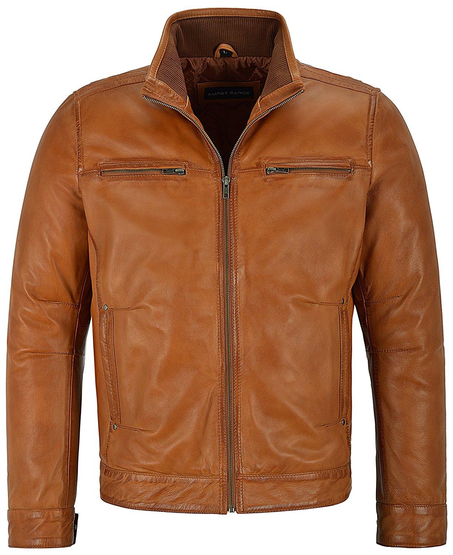 Smart Range Men's Tan Soft Retro Urban Biker Style Zipped Casual Bomber Leather Jacket 999