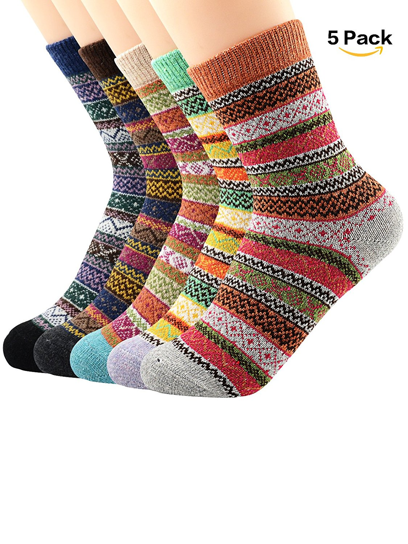 Durio Soft Winter Crew Wool Socks Women Warm Cabin Socks Vintage Thick Sock