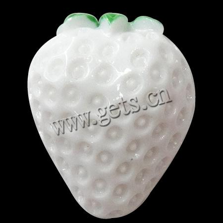 Resin 18x21x11mm white strawberry