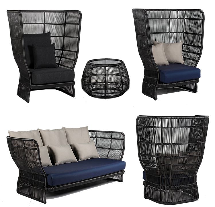 Comfortable high backrest rattan wicker single sofa nice design outdoor furniture