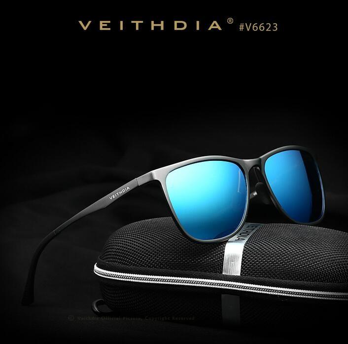 ebb67a9bc5 Veithdia retro de aluminio de magnesio marca gafas de sol lente polarizada  vintage Eyewear accesorios gafas