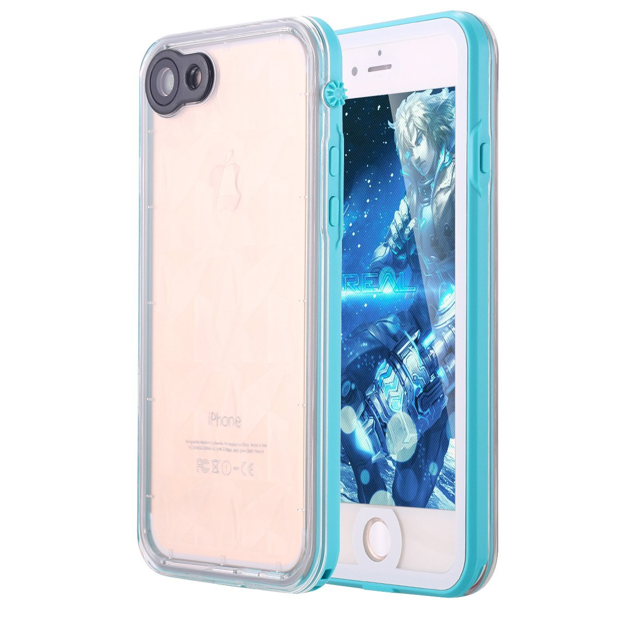 iPhone 8 Case,iPhone 7 Case, LONTECT Slim Thin iPhone 8/iPhone 7 Waterproof Shockproof Dirtproof Snowproof Case with Clear Back Cover for Apple iPhone 8/iPhone 7 - Teal