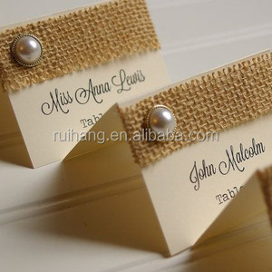 Burlap and Rustic Pearl Place Cards wedding Table Numbers card