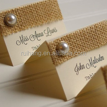 Burlap And Rustic Pearl Place Cards Wedding Table Numbers Card Lace Printing Diffe