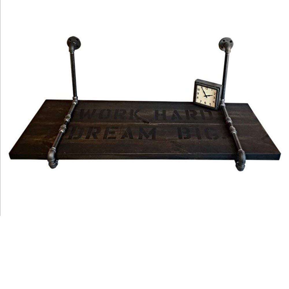 Tables ZR-Wall Wall-mounted Computer Desk Retro Industry Desk Wrought Iron Pine Desk Creative Desk Home Writing Desk 3 sizes -save space (Size : 80503cm)