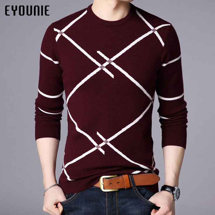 Thicken wool jumpers mens black casual slim thick warm red striped knit sweater
