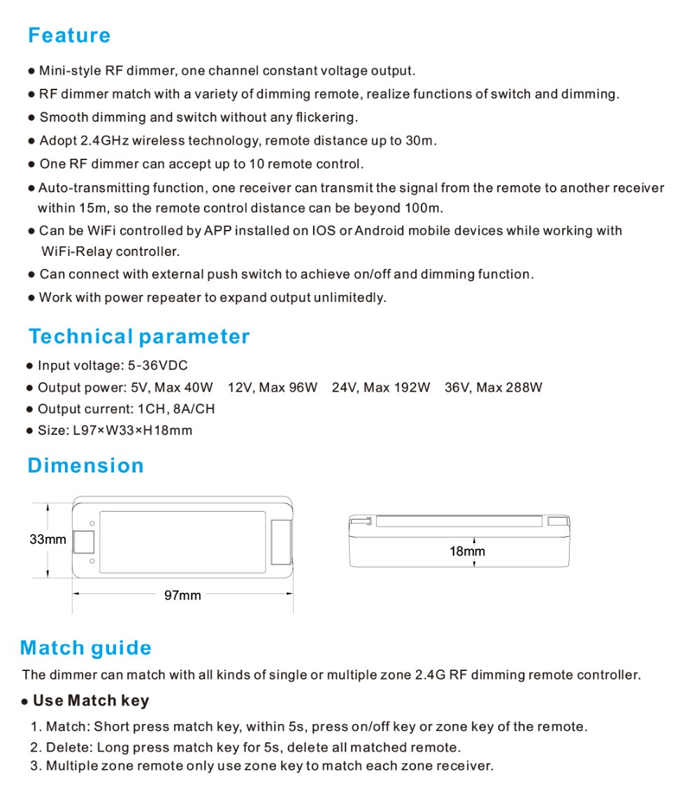 Skydance V1 Smart Home Rf Wireless Wifi Single Color Compatible Led Ir Light Dimmer Detailed Images