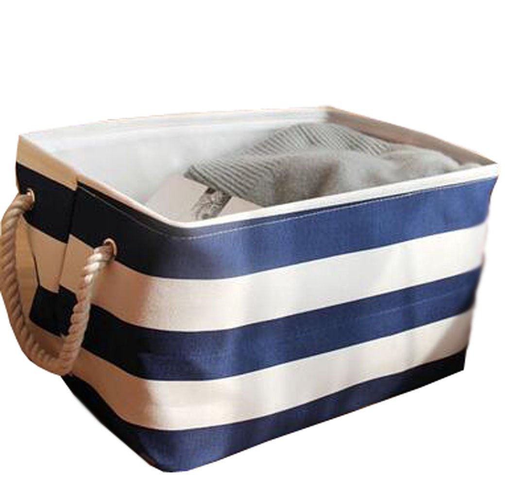 WEISHY Folding Storage Box Large Toy Storage Box Cloth Storage Basket (L, blue)