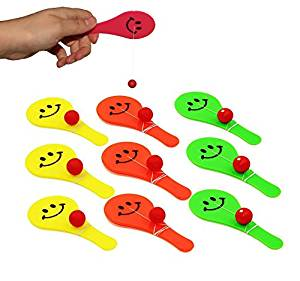 Dazzling Toys Small Paddle Ball Games, Assorted Colors, 18 pack