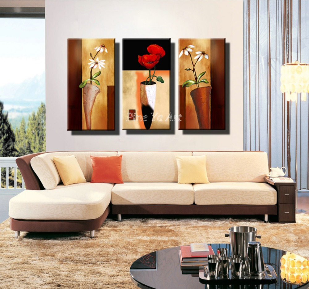 3 panel hd print cheap decorative flower abstract modern canvas art living room wall painting on. Black Bedroom Furniture Sets. Home Design Ideas