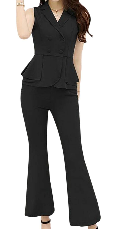 Pandapang Womens Hi-Waist One Shoulder Bell Bottom Pants Tie Rompers Jumpsuits