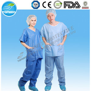 Disposable Scrub Suit SMS Nonwoven Medical Scrub Suit SHIRT&PANTS