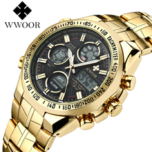 WWOOR Brand Men Chinese Replica Anolog Digital Watch Waterproof LED Sports Big Dial Casual Gold Chronograph WristWatch For Men